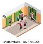 high school isometric people... | Shutterstock .eps vector #1077708656