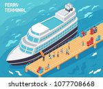 ferry terminal with modern...   Shutterstock .eps vector #1077708668