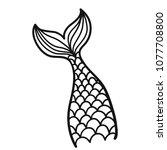 hand drawn  mermaid tail.... | Shutterstock .eps vector #1077708800