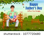 happy father's day greeting... | Shutterstock .eps vector #1077720680