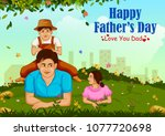 happy father's day greeting... | Shutterstock .eps vector #1077720698