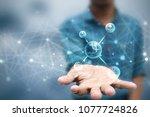 2d render of dna structure ... | Shutterstock . vector #1077724826