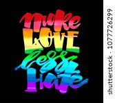 more love less hate.gay pride ...   Shutterstock . vector #1077726299