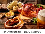 traditional german cuisine ... | Shutterstock . vector #1077728999