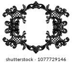 black ornament on a white... | Shutterstock . vector #1077729146