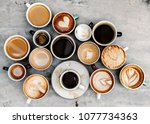 aerial view of various coffee | Shutterstock . vector #1077734363