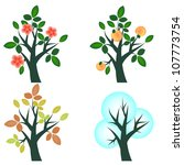 seasonal trees set four seasons | Shutterstock .eps vector #107773754