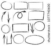 black chalk graphic elements... | Shutterstock .eps vector #1077740600