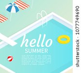 hello summer isometric pool... | Shutterstock .eps vector #1077749690