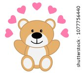 toy bear with red hearts | Shutterstock .eps vector #1077756440