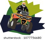 quad bike rides at the speed ... | Shutterstock .eps vector #1077756680