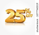 3d vector shiny gold text 25... | Shutterstock .eps vector #1077760319