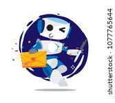 robot holding love letter and... | Shutterstock .eps vector #1077765644