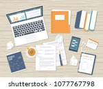 workplace background. top view... | Shutterstock .eps vector #1077767798