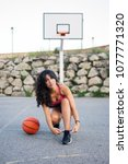 urban female young basketball... | Shutterstock . vector #1077771320