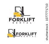 forklift logo vector. forklift... | Shutterstock .eps vector #1077771710