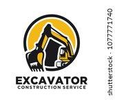 excavator vector logo template. ... | Shutterstock .eps vector #1077771740