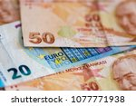 turkish and european currency   ... | Shutterstock . vector #1077771938