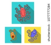 types of funny microbes flat... | Shutterstock .eps vector #1077777284
