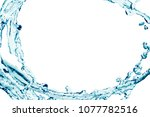 blue water splash isolated and... | Shutterstock . vector #1077782516