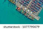 container ship in export and... | Shutterstock . vector #1077790079
