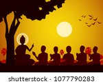 lord of buddha sermon to five... | Shutterstock .eps vector #1077790283