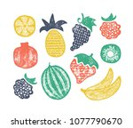 grunge textured set of isolated ... | Shutterstock .eps vector #1077790670