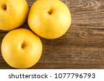 chinese golden pears top view... | Shutterstock . vector #1077796793