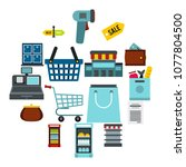 flat supermarket icons set....