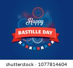 happy bastille day  the french... | Shutterstock .eps vector #1077814604
