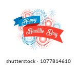 happy bastille day  the french... | Shutterstock .eps vector #1077814610