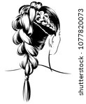 woman with high braided tail | Shutterstock .eps vector #1077820073