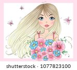 hand drawn beautiful cute girl... | Shutterstock .eps vector #1077823100