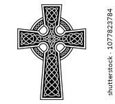 celtic cross with white... | Shutterstock .eps vector #1077823784