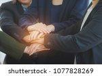 teamwork concept of diverse... | Shutterstock . vector #1077828269