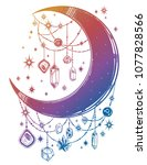 crescent boho moon with...   Shutterstock .eps vector #1077828566