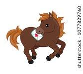 adorable cartoon horse... | Shutterstock .eps vector #1077829760