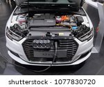 Small photo of Switzerland; Geneva; March 8, 2018; Audi A3 e-tron being charged, front side; The 88th International Motor Show in Geneva from 8th to 18th of March, 2018.