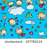 doodle seamless background... | Shutterstock .eps vector #107783123