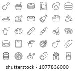 thin line icon set   sausage... | Shutterstock .eps vector #1077836000