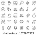 thin line icon set   robot hand ... | Shutterstock .eps vector #1077837179