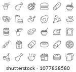 thin line icon set   sausage...   Shutterstock .eps vector #1077838580