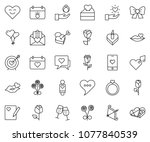 thin line icon set   rose... | Shutterstock .eps vector #1077840539