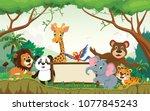 wild animal cartoon with blank... | Shutterstock . vector #1077845243