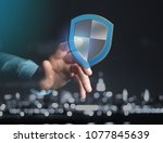 view of a shield symbol... | Shutterstock . vector #1077845639