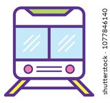 flat icon design of a tram  | Shutterstock .eps vector #1077846140