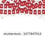 hong kong flag garland white... | Shutterstock .eps vector #1077847013