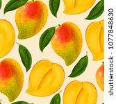 mango seamless pattern | Shutterstock .eps vector #1077848630