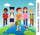 educational tourism concept.... | Shutterstock .eps vector #1077858860
