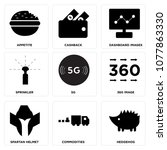 set of 9 simple editable icons... | Shutterstock .eps vector #1077863330